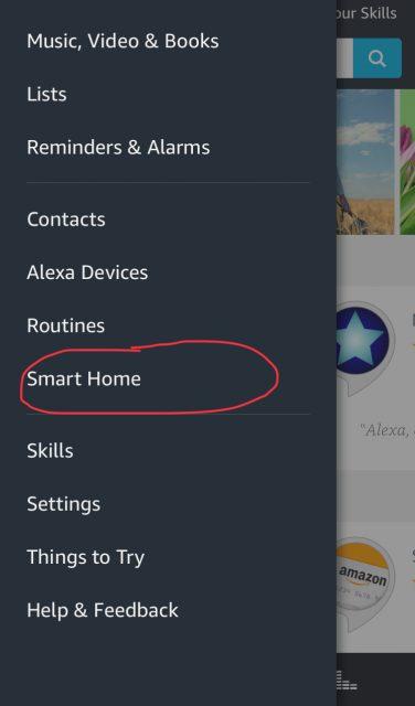 Smart Home menu i Alexa app